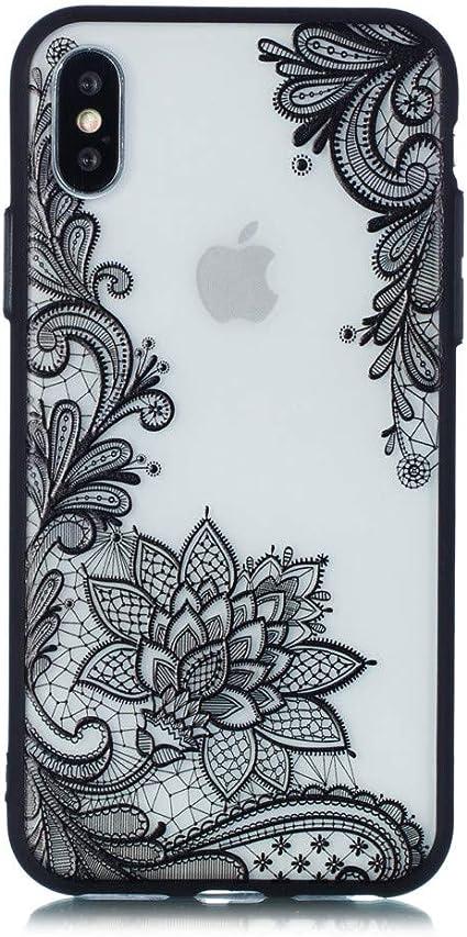 Keyihan Cover Compatibile con iPhone 5 e iPhone 5S e iPhone SE Custodia Antiurto Nero Fiore Sollievo Pizzo Modello Opaca Protettiva Case rigida ...
