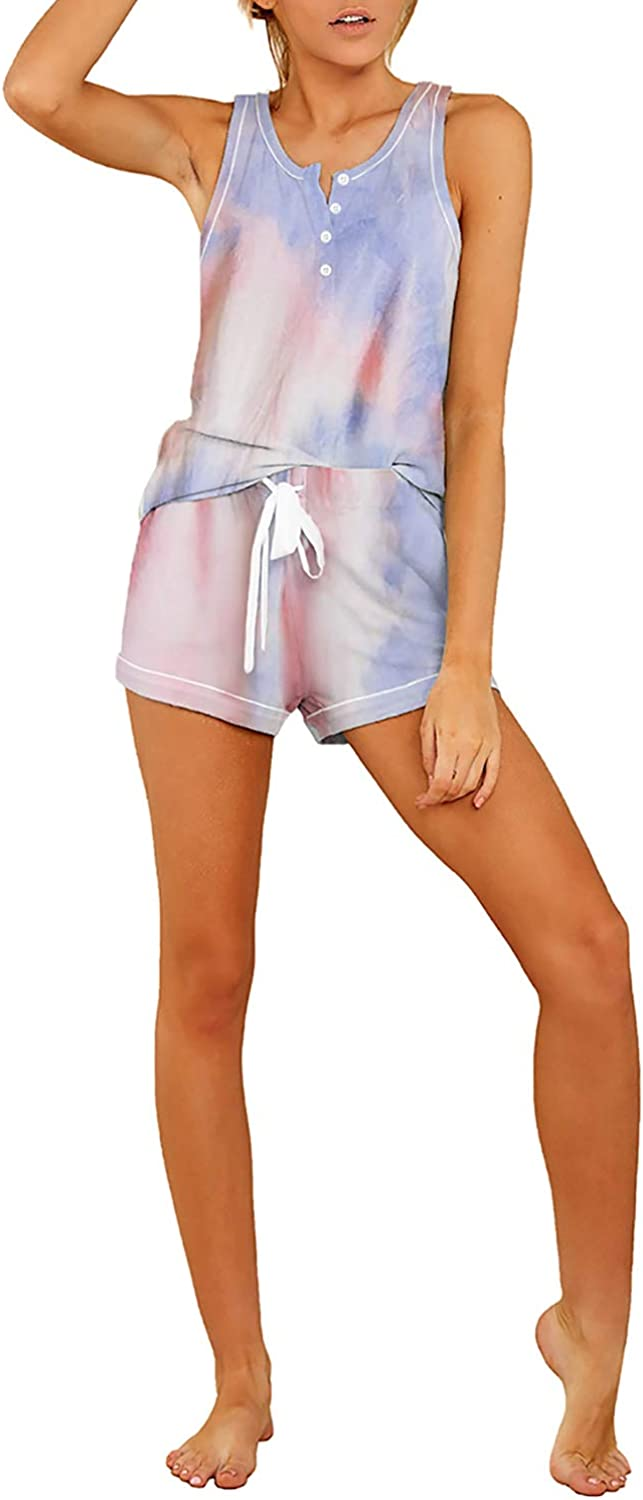 Sidefeel Women Tie Dye Pajamas Set Buttons Detail Tank Top with Shorts Sleepwear Lounge