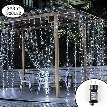 Weihnachtsbeleuchtung Für Balkon Aussen.Led Lichtervorhang Lichterwand 3 X 3m Lichterkettenvorhang 300 Leds Lichterkette 8 Modi Ip44 Wasserfest Lichtervorhang Warmweiß Für