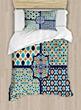 Arabian Twin Size Duvet Cover Set by Ambesonne, Different Asian Ornate Mosaic Patterns Historical Lines Heritage Culture, Decorative 2 Piece Bedding Set with 1 Pillow Sham, Blue Orange White