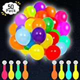 POKONBOY 50 Pack LED Light Up Balloons, Glow in the Dark Party Supplies LED Balloons Neon Party Supplies for Birthday Wedding Festival Easter Decorations (Mixed Color)