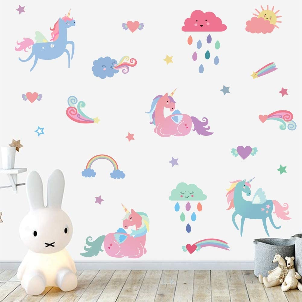 Arttop Rainbow Unicorn Wall Decal, Colorful Horse Unicorn with ...