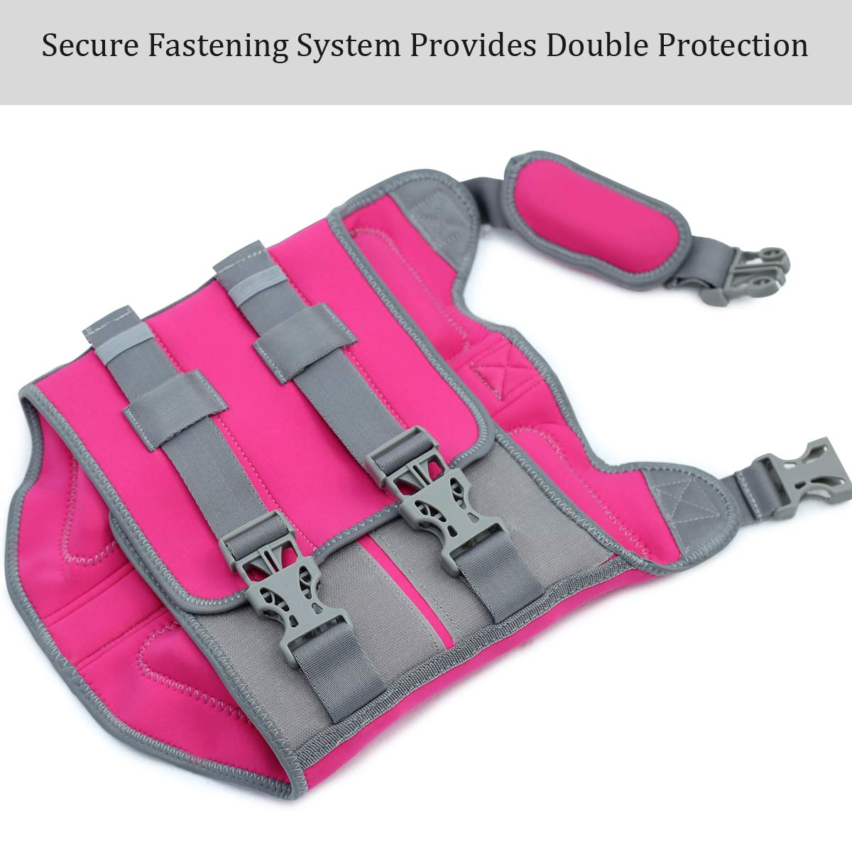 Vivaglory Pet Life Vest, Skin-Friendly Neoprene Dog Safety Vest with Superior Buoyancy and Rescue Handle, Reflective & Adjustable, Pink, Medium by Vivaglory (Image #3)