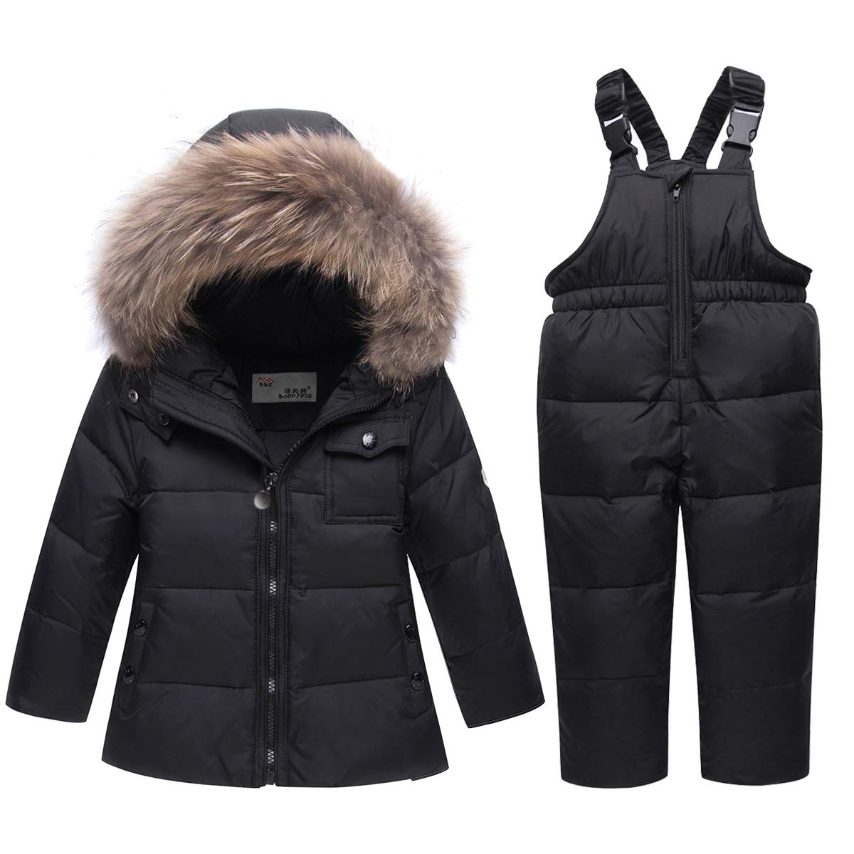 SANMIO Baby Boys Girls Two Piece Snowsuit, Toddler Winter Hooded Puffer Down Jacket Coat with Ski Bib Pants Black by SANMIO