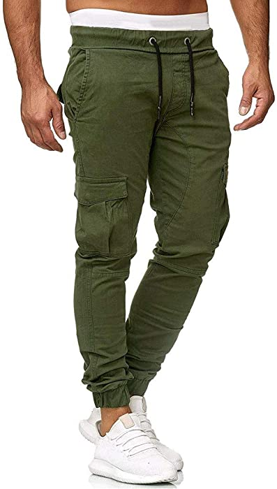 Rising On Handsome Mens Slim Fit Casual Twill Chino Drawstring Jogger Pants