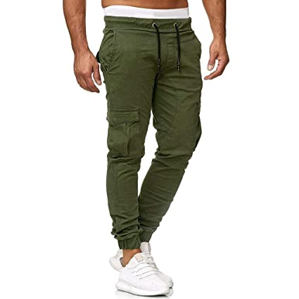 fceadfafaa Amazon.com: Men Pants Men's Long Comfort Elastic Waist Drawstring ...