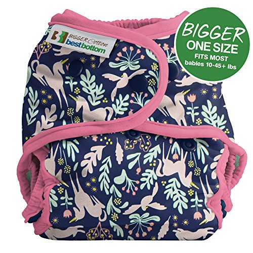 Bigger Best Bottom Cotton Diaper - Snap - Enchanted Unicorn Raspberry - Made In The USA