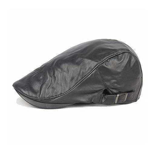 e7f916f15ee Unisex Winter Classic Trendy Vintage Leather Newsboy Cap Hunting Hat Beret  Flat Cap Adjustable (Black
