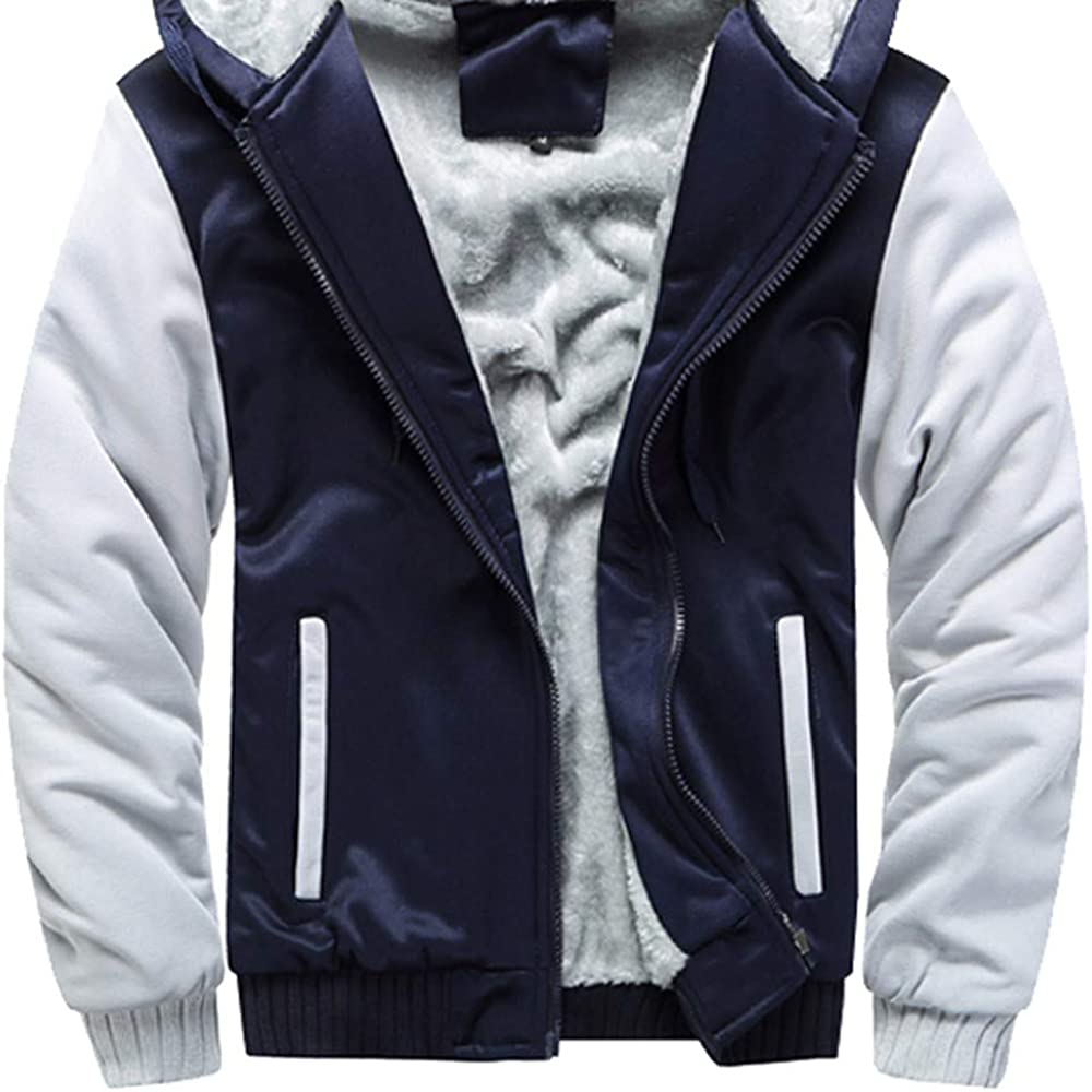 DaySeventh Clothes Mens Hoodie Winter Warm Fleece Zipper Sweater Jacket Outwear Coat
