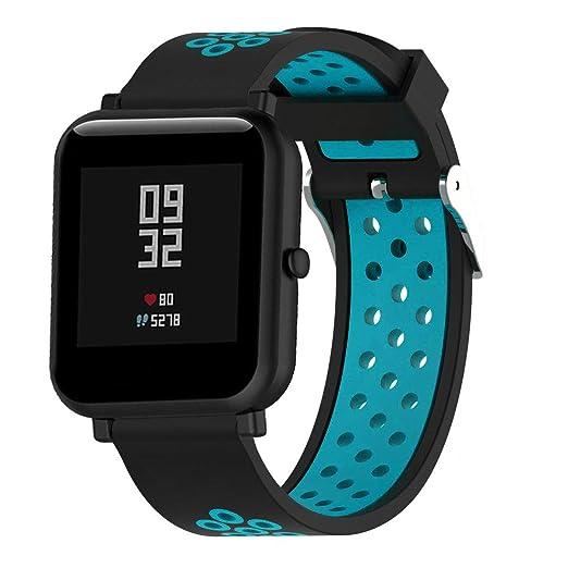 Correas de silicona Lemfo para Xiaomi Amazfit Bip pack de 3 pulseras de colores para recambio repuesto ajustables con cierre metálico para smartwatch ...