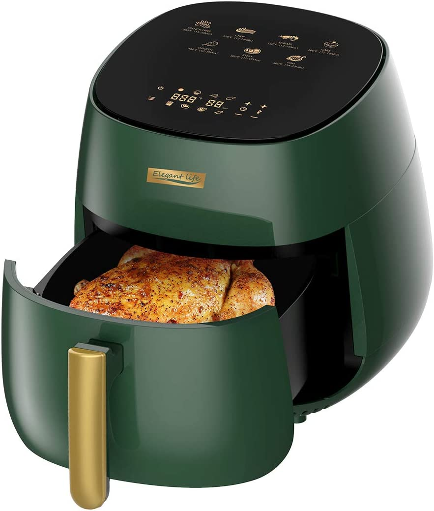 Elegant Life Air Fryer 4.8QT Electric Hot Oven, 7-in-1 Oilless Cooker LCD Touch Digital Screen Air Fryer Oven with Nonstick Basket & Recipe Book