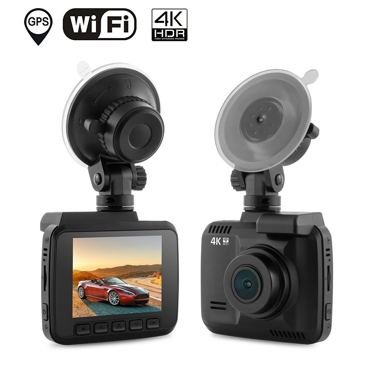 Dash Cam Car DVR Dashboard Camera Recorder with Built-In WiFi & GPS, 4K FHD, APP Support, G-Sensor, 2.4'' LCD, 150 Degree Wide-Angle Lens, Loop Recording, Great Night Vision, Parking Monitor by AZDOME