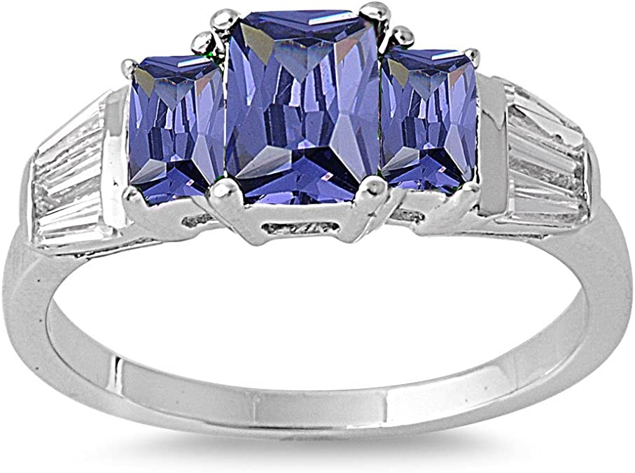 CloseoutWarehouse Oval Blue Simulated Opal with Simulated Amethyst Cubic Zirconia Ring Sterling Silver