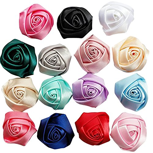 Chenkou Craft 30pcs Assorted Satin Ribbon Rose Flowers Bows Craft Mix Lots (Ribbon Rose)