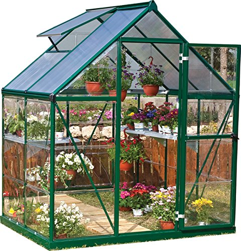 Palram Nature Series Hybrid Hobby Greenhouse – 6′ x 4′ x 7′, Forest Green For Sale