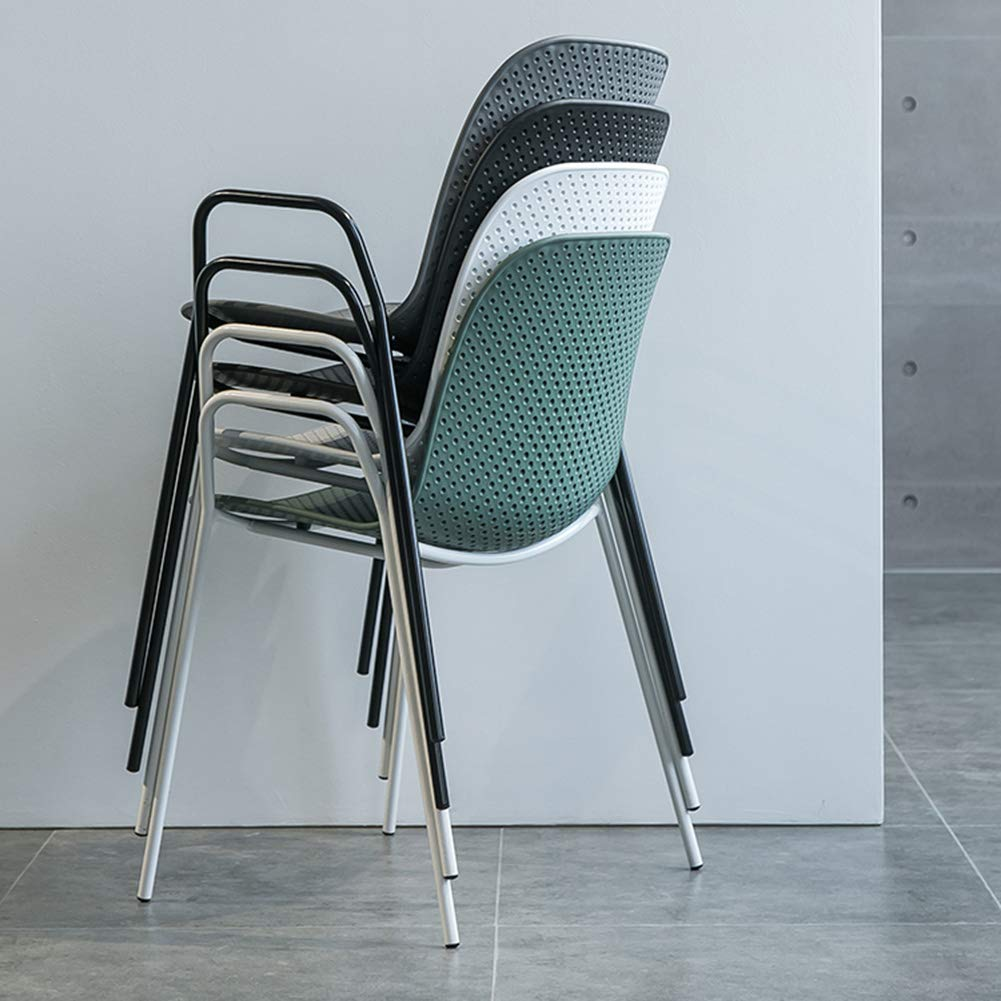 Uppsättning av 2 – matstolar trädgårdsstol stol stol balkong stol (vit grå grön svart) – sovrum vardagsrum café restaurang sidostol – med armstöd och ryggstöd Grått och vitt