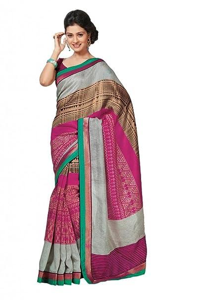 roop kashish Mujer Multi Art Bhagalpur Tela de seda con Blusa libre tamaño multicolor