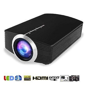 Proyector de película, LED proyectores de vídeo portátiles con altavoz estéreo, compatible con TV