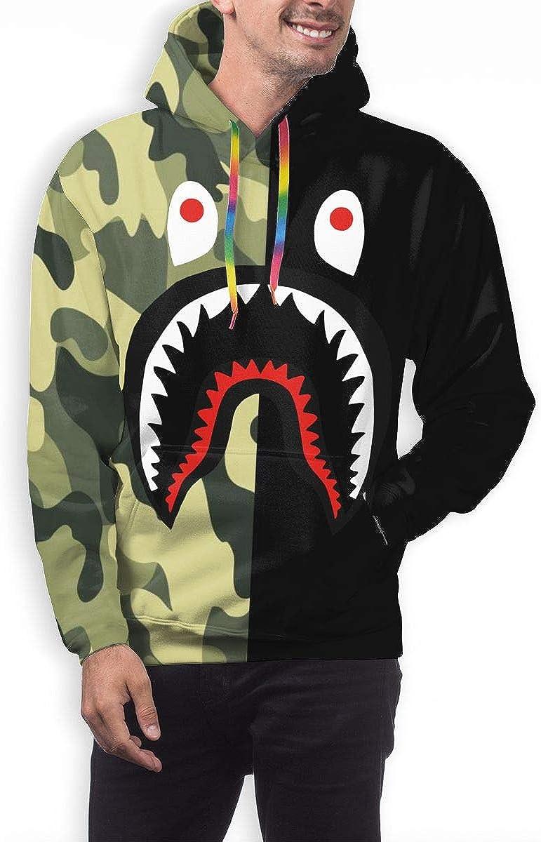 Unisex 3D Blood Shark Poster Plus Velvet Hooded Sweatshirt Casual Pullover Hoodie with Pocket