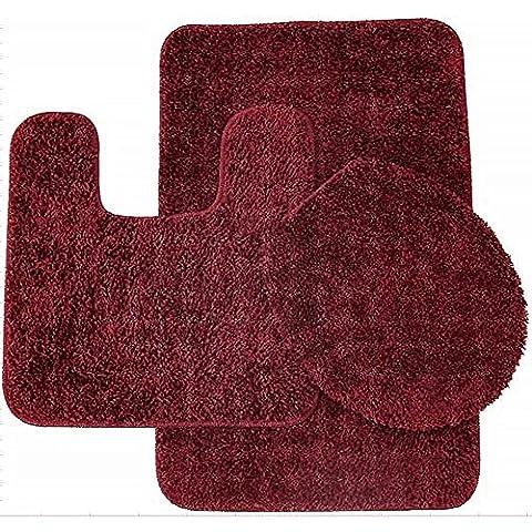 Sweet Home Collection 3 Piece Shag Bathroom Rug set Burgundy Bath Mat, Contour & Seat (Bathroom Rugs Contour)