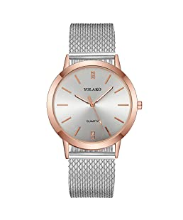 Womens Rhinestone Wristwatch, Balakie Fashion Stainless Steel Mesh Band Analog Quartz Watch-A156 Lover Memorial Gifts(Silver)