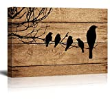 wall26 Canvas Prints Wall Art - Artistic Birds on Branch on Vintage Wood Background - 16' x 24'