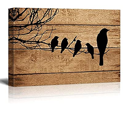 Artistic Birds on Branch on Vintage Wood Background...