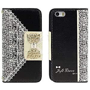 ABC(TM) Black Fashion Girl Woman Fresh Sweet Cute Flip Wallet Leather Case Cover for Iphone 5s 5 5th