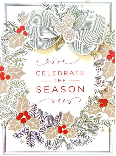 Handmade Dimensional Gold Holly Wreath Boxed Holiday Cards with Gold Foil Embellishments By Anna Griffin -- Set of 10 Cards and Envelopes