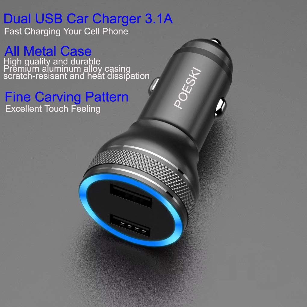 USB Car Charger iPhone Car Charger Fast Phone Charge Car Adapter Compatible iPhone X,XR,XS,11 Pro,8,8 Plus,7 Plus,7S,6 Plus,6S,iPad,Tablet,Samsung Galaxy S9 S8,S7,HTC LG Nexus Pixel and More Device