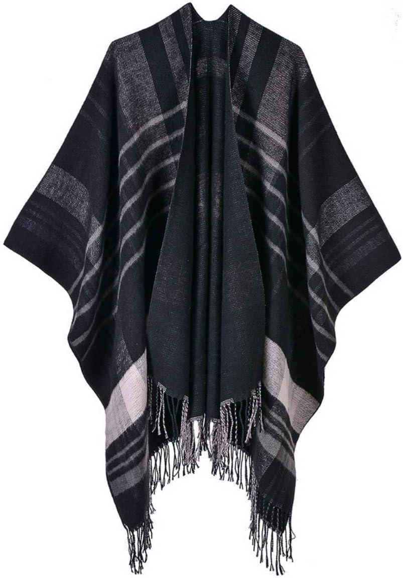 Womens Black Grey Wooley Shawl Large Wrap Scarf Cape Open Cardi New