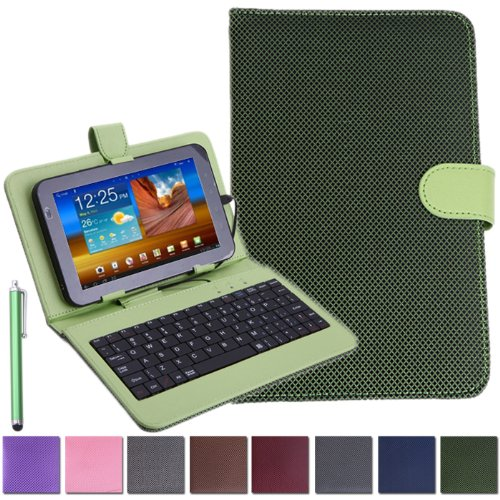 "HDE Universal 7"" Diamond Stitch Tablet Keyboard Hard Case Cover w/ Matching Stylus"