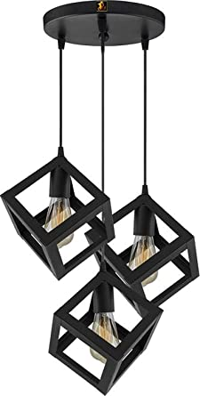 Imper!al 3 Lights Cube Hanging Metal Pendant Ceiling Lamp for Drawing Room Home Decor with Filament Bulb (Black, Standard) Pendant Lights at amazon