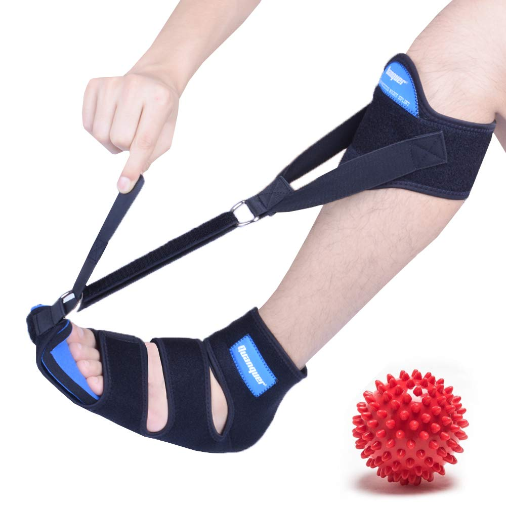 Plantar Fasciitis Night Splint Drop Foot Brace - New & Improved Foot and Leg Stretcher for Effective Relief from Plantar Fasciitis, Achilles Tendonitis, Heel, Ankle and Calf Pain (L) by Quanquer-dubeluo