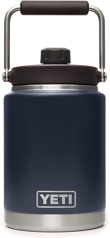 Amazon Com Yeti Rambler Half Gallon Jug Vacuum Insulated Stainless Steel With Magcap Navy Sports Outdoors