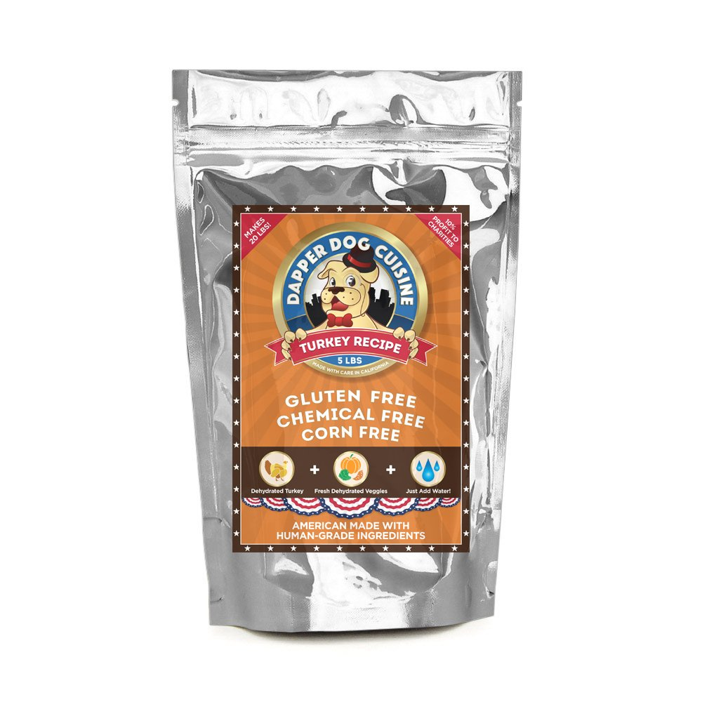 Dapper Dog Cuisine Human Grade Dehydrated Grain Free Dog Food (Dehydrated Turkey, 5 lb (Makes 20 lbs)) by Dapper Dog Cuisine