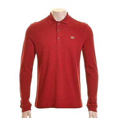 2a00c4fbe3 Lacoste Long Sleeve Polo Shirt. Burgundy 6: Amazon.co.uk: Clothing