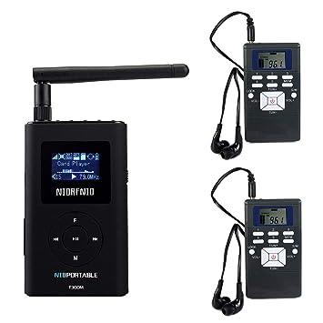 Mini 2Radio Receiver for Tour Guiding Meeting Training Wireless FM Transmitter