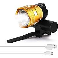 Tomshin LED USB recarregável ao ar livre capaz T6 bicicleta luz lâmpada frontal tocha farol