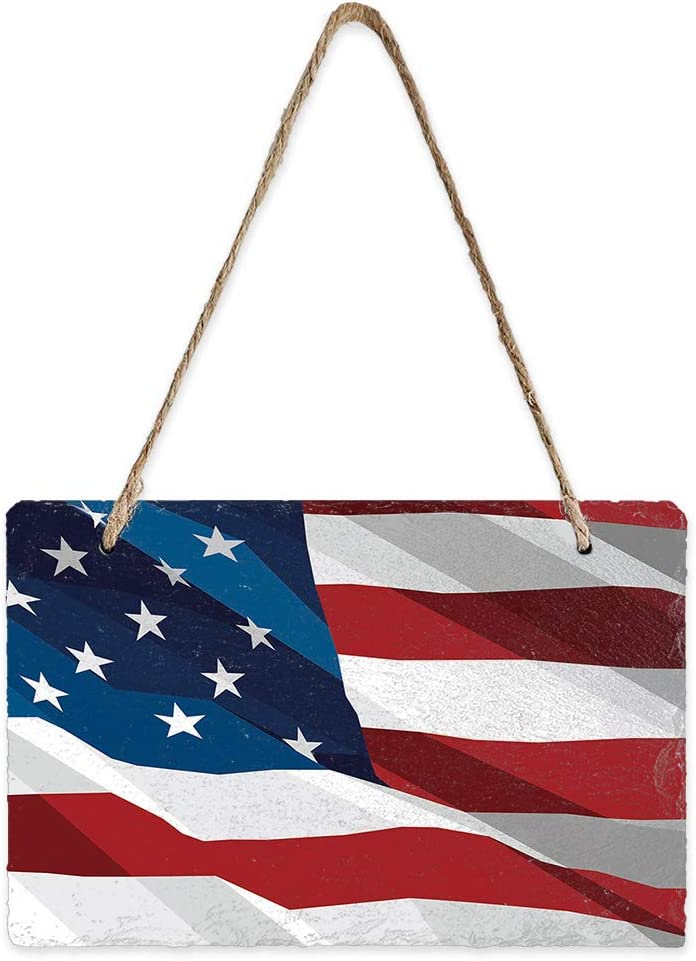 Slate Hanging Wall Sign Fluttering American Flag Wall Plaque Wood Signs with Rope USA Decor Patriotic Faith DIY Hanging Door Sign for Front Porch/Entryway/Outdoor/Garden Home Decor, 8x5inch