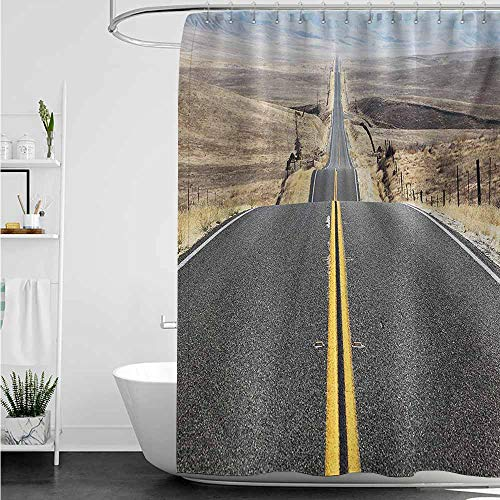 home1love Bathtub Splash Guard,Landscape Pacific Coast Highway on The Road Trip to Endless Desert Western Photograph Wilderness,Shower Curtains in Bath,W72x72L,Grey ()