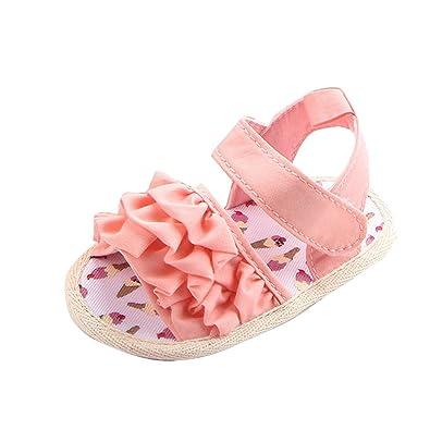 adb518fa66451 HLIYY- Chaussures Cuir Souple Chaussons Bebe Filles Bébé Fille Sneaker  Semelles Souples Anti-dérapantes