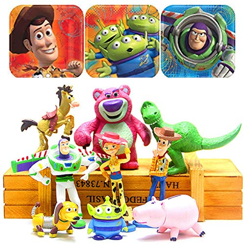 ToysOutletUSA Toy Story Figures Play Set Collectible 9 Pcs Size 4 to 8 cm + 1 Bonus Stickers - Ideal Cupcake Toppers Party Favors Decorations ()