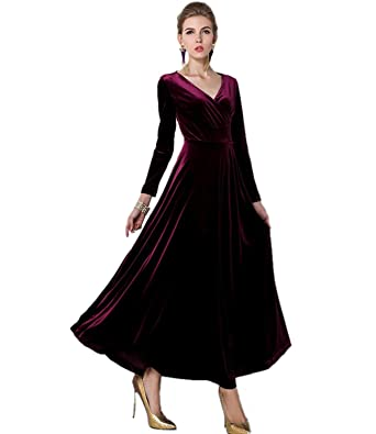 Medeshe Womens Burgundy Red Long Velvet Formal Party Prom Dress Gown (UK 8/10