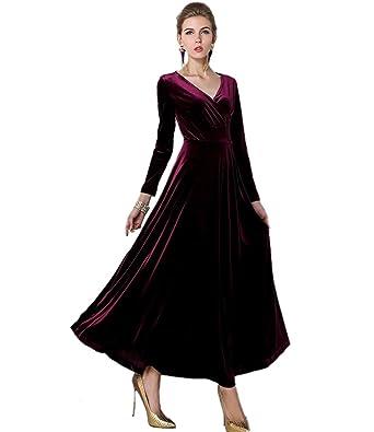 8c2942e3822 Medeshe Femme Bordeaux Rouge Longue en velours Robe de soirée fête pour robe  de soirée - Rouge -  Amazon.fr  Vêtements et accessoires