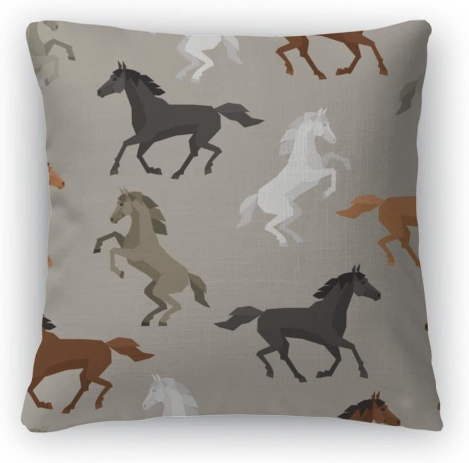 Gear New Pattern with Horse in Flat STYL Throw Pillow, Poplin, 26×26, GN3887