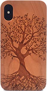 CYD Wooden Case for iPhone Xs/iPhone X, Natural Real Wood Engraved Life Tree Shockproof Drop Proof Slim Bumper TPU Protective Cover