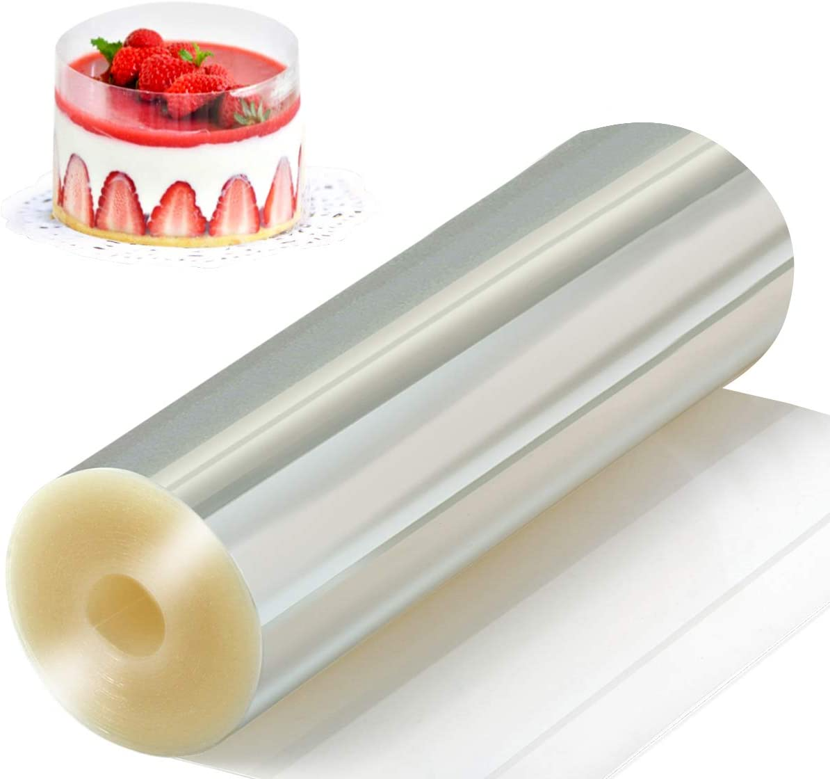 Amytalk Cake Collars 6.3 x 394inch, Acetate Rolls, Clear Cake Strips, Transparent Cake Rolls, Mousse Cake Acetate Sheets for Chocolate Mousse Baking, Cake Decorating