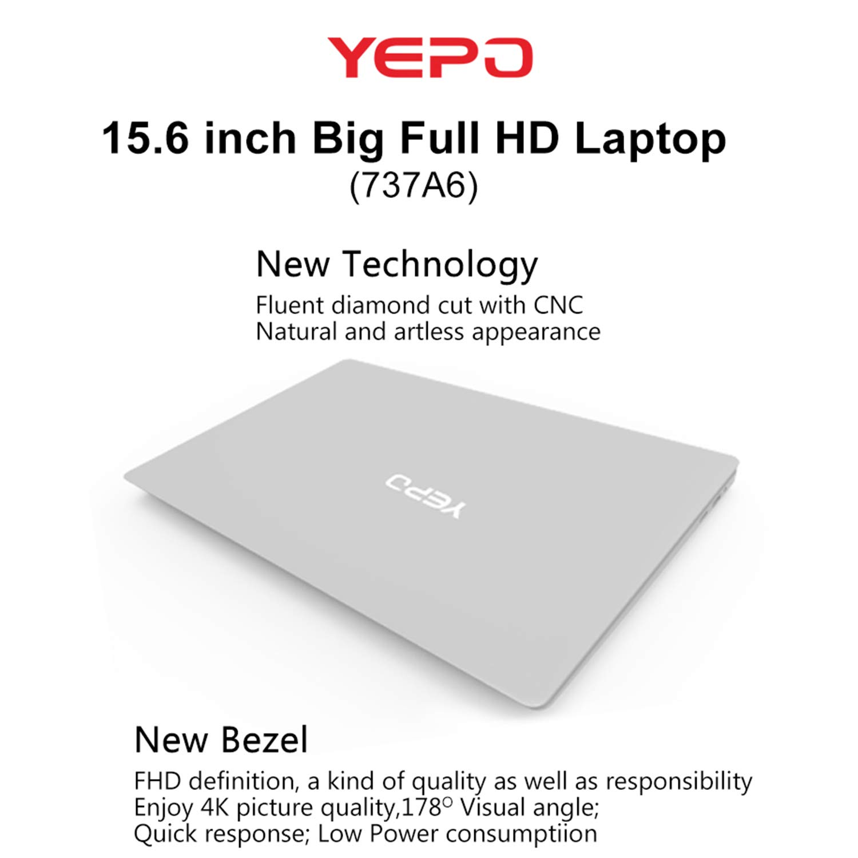 YEPO 737A6 15.6-Pulgadas 1080 P HD portátil 6 + 64 G Gaming portátil de Trabajo para Windows10 0.3MP cámara portátil: Amazon.es: Informática