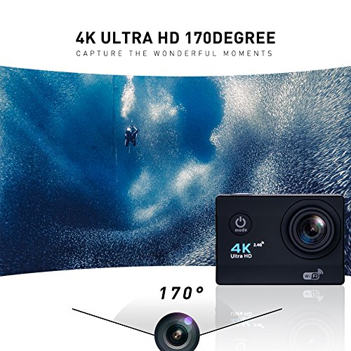 Sports Action Camera Ultra HD Waterproof DV Camcorder 4K WIFI Cam 1080P 170 Degree Wide Angle with Remote Black